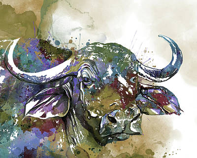 Animal Portraits - African Buffalo Watercolor by Bekim M