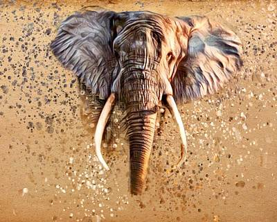 Animals Royalty-Free and Rights-Managed Images - African Elephant  by Scott Wallace Digital Designs