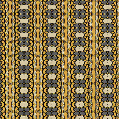 Mellow Yellow - African Leaf Strip Print Gray and Gold by Sand And Chi