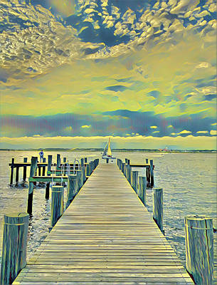 Surrealism Royalty-Free and Rights-Managed Images - Afternoon Sailing on the Bay by Surreal Jersey Shore