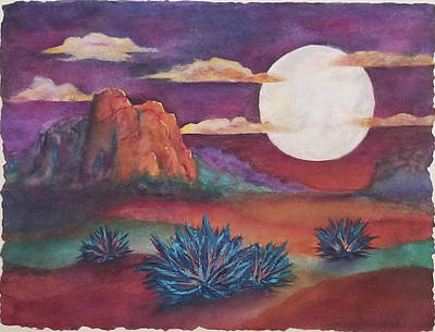 Mixed Media - Agave Moon by Terry Ann Morris