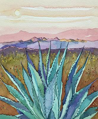 Longhorn Paintings - Agave Sunset by Luisa Millicent