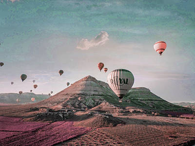Surrealism Royalty Free Images - Air balloons flying above mountains - Surreal Art by Ahmet Asar Royalty-Free Image by Celestial Images