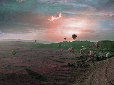 Surrealism Royalty Free Images - Air balloons in valley at sunset - Surreal Art by Ahmet Asar Royalty-Free Image by Celestial Images