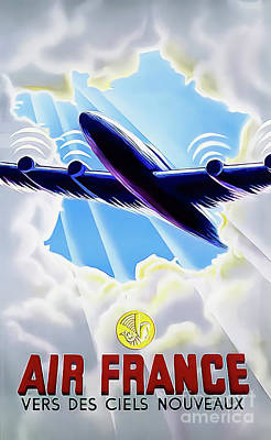 Drawings Royalty Free Images - Air France Towards New Skies Poster 1946 Royalty-Free Image by Air France