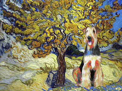 Clouds Rights Managed Images - Airedale Terrier Art The Mulberry Tree in Autumn Van Gogh Airedale Terrier Dog Print Royalty-Free Image by Sandra Sij