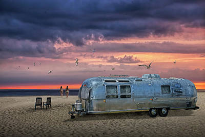 Comedian Drawings Rights Managed Images - Airstream Trailer on the Beach at Sunset Royalty-Free Image by Randall Nyhof