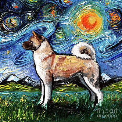 Painting - Akita Night by Aja Trier