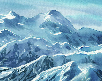 Royalty-Free and Rights-Managed Images - Alaska Mountains Blue Teal Turquoise Mountain Range Watercolor  by Irina Sztukowski