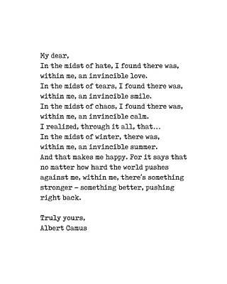 Digital Art - Albert Camus Quote - Invincible Summer 1 - Typewriter Print - Minimalist, Inspiring Literary Quote by Studio Grafiikka