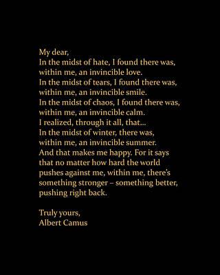 Digital Art - Albert Camus Quote - Invincible Summer 2 - Typewriter Print - Minimalist, Inspiring Literary Quote by Studio Grafiikka