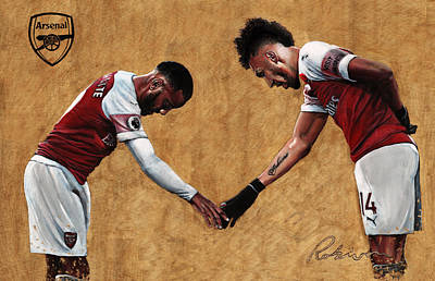Sports Paintings - Alexandre Lacazette and Pierre Emerick Aubameyang by Mark Robinson