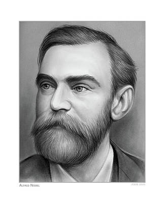Drawings Royalty Free Images - Alfred Nobel - Pencil Royalty-Free Image by Greg Joens