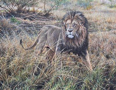 Animals Paintings - All He Surveys by Alan M Hunt