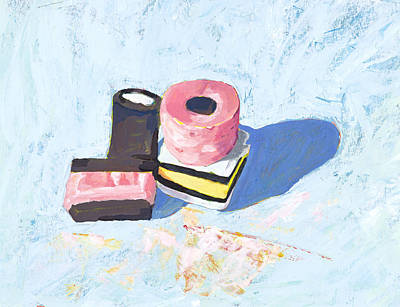 Painting - Allsorts On Blue by Tina Lewis