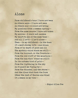 Royalty-Free and Rights-Managed Images - Alone - Edgar Allan Poe - Poem - Literature - Typewriter Print on Old Paper by Studio Grafiikka