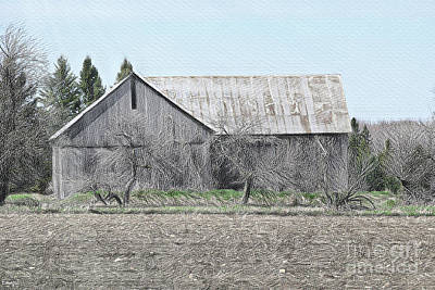 Popstar And Musician Paintings Royalty Free Images - Alpena County Barn H Sketch 2 Royalty-Free Image by Scott Polley