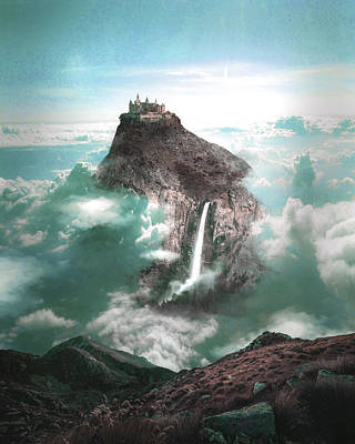 Surrealism Royalty-Free and Rights-Managed Images - Alpine Castle and Waterfall - Surreal Art by Ahmet Asar by Celestial Images