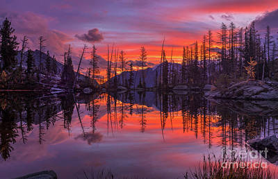 Royalty-Free and Rights-Managed Images - Alpine Lakes Morning Fire Symmetry by Mike Reid
