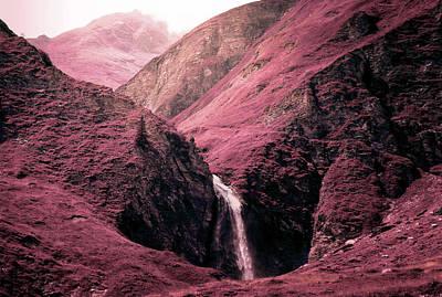 Surrealism Royalty Free Images - Alpine Waterfall - Surreal Art by Ahmet Asar Royalty-Free Image by Celestial Images