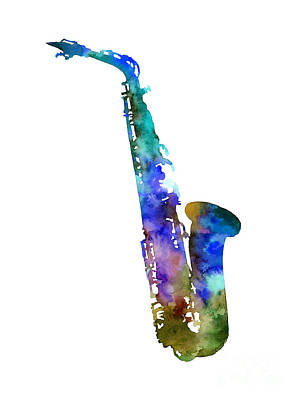 Urban Abstracts - Alto Sax-Blue by Hailey E Herrera