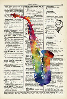 Abstract Oil Paintings Color Pattern And Texture - Alto Sax on Vintage Dictionary by Hailey E Herrera