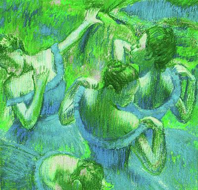 Royalty-Free and Rights-Managed Images - Amazing Ballerinas Degas Study Fantasy In Green by Irina Sztukowski