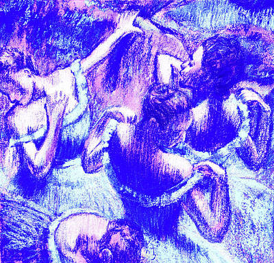 Royalty-Free and Rights-Managed Images - Amazing Ballerinas Degas Study Fantasy In Ultramarine Blue by Irina Sztukowski