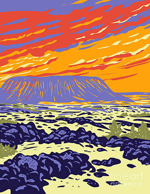 Caravaggio - Amboy Crater Extinct Cinder Cone Volcano in Mojave Desert Within Mojave Trails National Monument California WPA Poster Art by Aloysius Patrimonio