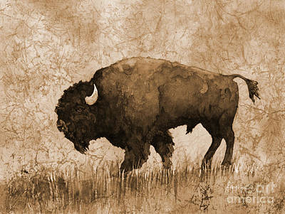 Animal Watercolors Juan Bosco - American Buffalo 5 in sepia tone by Hailey E Herrera