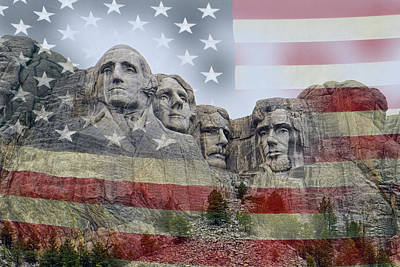 Israeli Flag - American History - Mount Rushmore National Memorial by Lucinda Walter