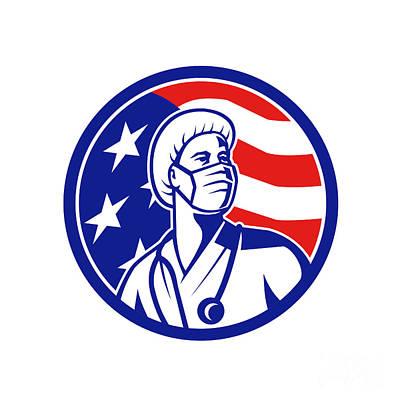 Katharine Hepburn - American Nurse Looking Up USA Flag Circle by Aloysius Patrimonio