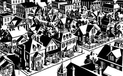 Soap Suds - American Town Silhouette by Dan Nelson
