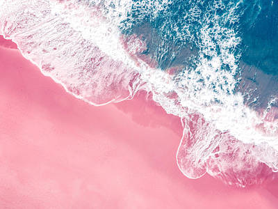 Royalty-Free and Rights-Managed Images - An aerial view of a pink sandy beach in New South Wales, Australia by Julien