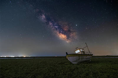 Popstar And Musician Paintings - An old boat under the milkyway by Alexios Ntounas