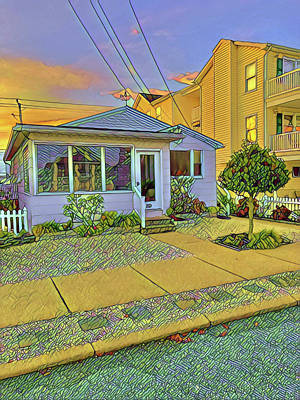 Surrealism Royalty-Free and Rights-Managed Images - An Older Home Surrounded by New Ones by Surreal Jersey Shore