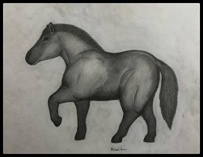 Animals Drawings - Ancient Horse W/ Border by Michael Panno