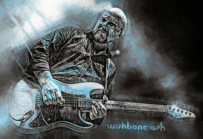 Mixed Media Royalty Free Images - Andy Powell Wishbone Ash Royalty-Free Image by Mal Bray