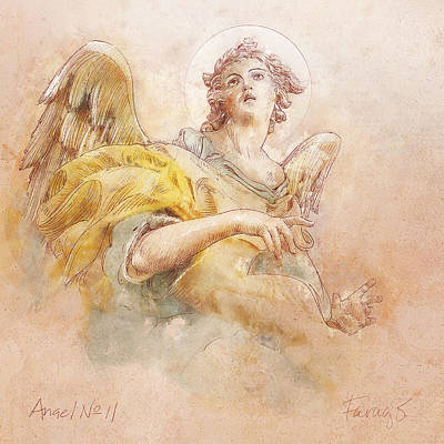 Drawing - Angel No 11a by Peter Farago