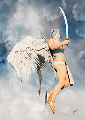 Angels And Cherubs - Angel with sword of light by Joaquin Abella