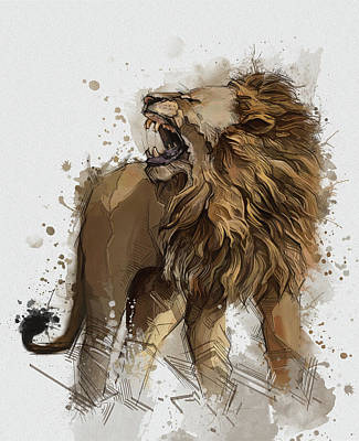Animals Digital Art - Angry Lion Vintage by Bekim M