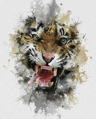 Animals Digital Art - Angry Tiger Abstract by Bekim M
