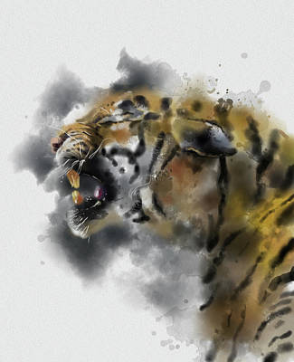 Animals Digital Art - Angry Tiger Watercolor by Bekim M