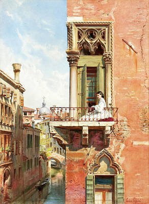 Personalized Name License Plates - Anna Passini on the balcony of Palazzo Priuli in Venice by Ludwig Johann Passini