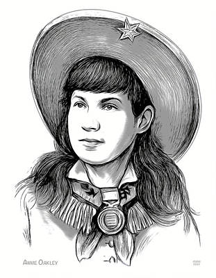 Drawings Royalty Free Images - Annie Oakley - Line Art Royalty-Free Image by Greg Joens