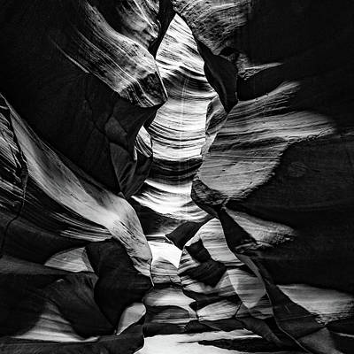 Vesna Antic Abstract Paintings Royalty Free Images - Antelope Canyon Inner Sanctum - BW 1x1 Monochrome Royalty-Free Image by Gregory Ballos