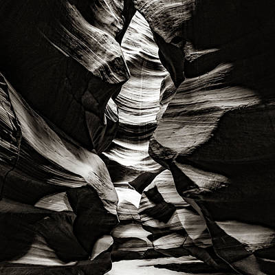 Vesna Antic Abstract Paintings Royalty Free Images - Antelope Canyon Inner Sanctum - Sepia 1x1 Monochrome Royalty-Free Image by Gregory Ballos