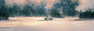 David Bowie Royalty Free Images - Antelope Lake in Golden Fog Royalty-Free Image by Mike Lee