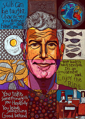 Animals Paintings - Anthony Bourdain Collage  by David Hinds