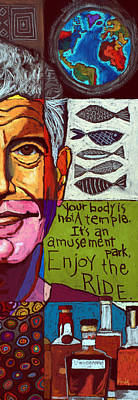 Animals Paintings - Anthony Bourdain Collage - Right Crop by David Hinds